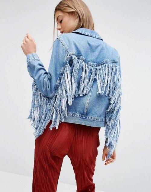 Asos - Veste jean franges