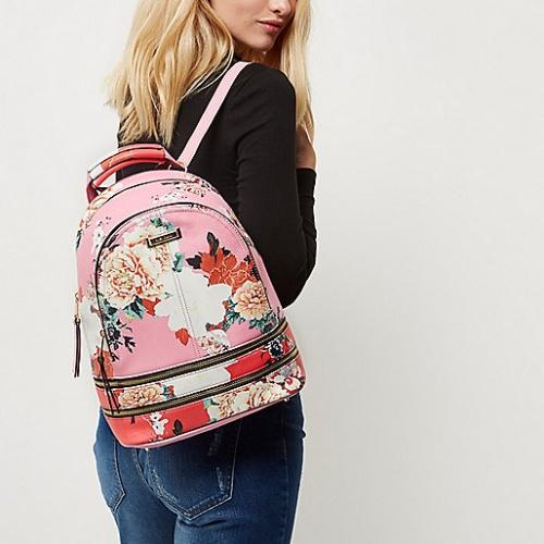 Sac à dos à fleurs rose et rouge zippé