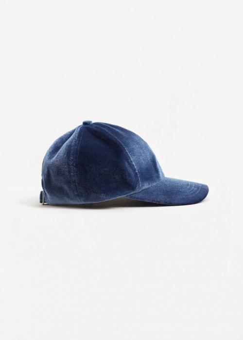 Mango - casquette en velours bleu