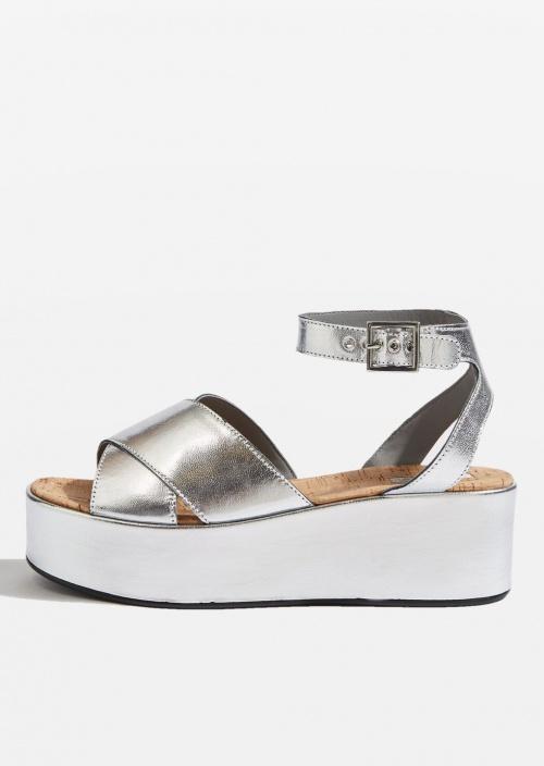 Topshop - Sandales plate forme argent