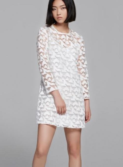 Front Row Shop - robe organza à motifs géométriques