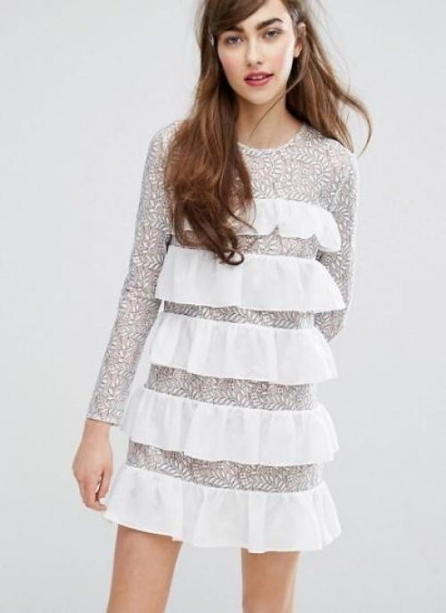 E.F.L.A - robe babydoll avec volants et dentelle