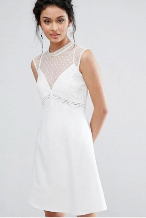 Elise Ryan - robe trapèze dentelle et tulle à pois
