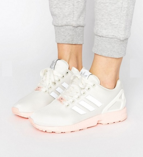 Zx Flux - Baskets à semelle rose - Blanc
