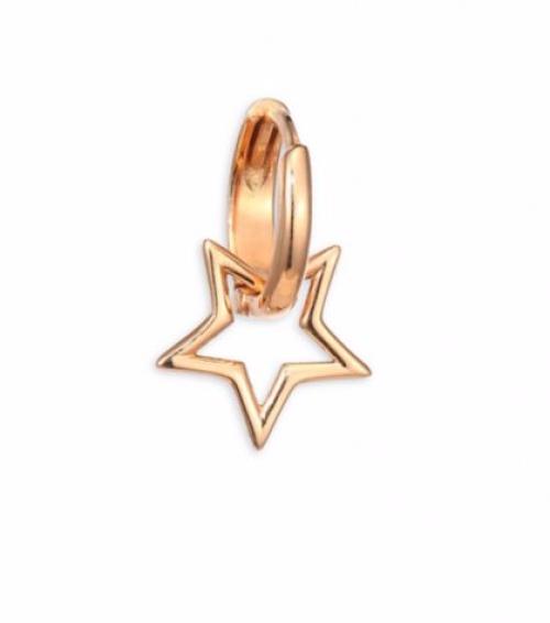 Sheriff Star 14K Rose Gold Single Hoop Earring
