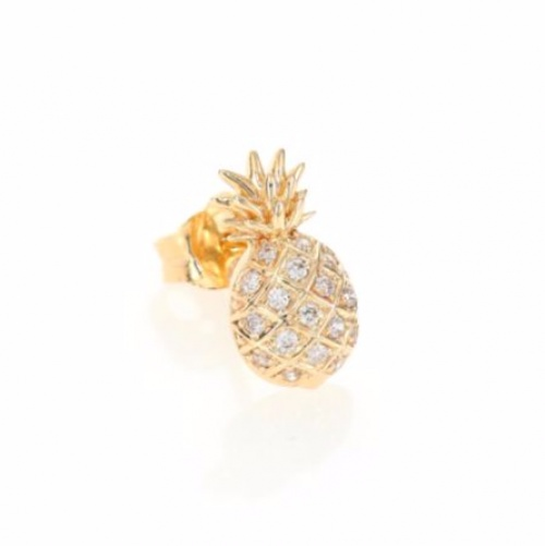 Diamond & 14K Yellow Gold Pineapple Single Stud Earring