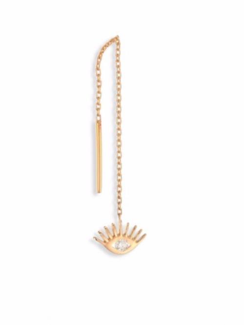 Protect Me Evil Eye Diamond & 14K Rose Gold Single Short Threader Earring