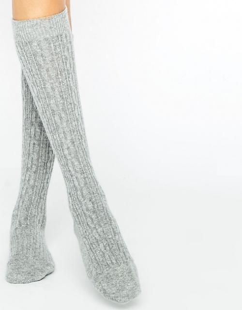 Chaussettes hautes en maille torsadée et en cachemire - Gris