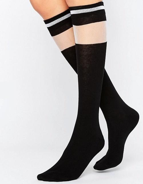 Chaussettes hauteur genoux à rayures et empiècement transparent