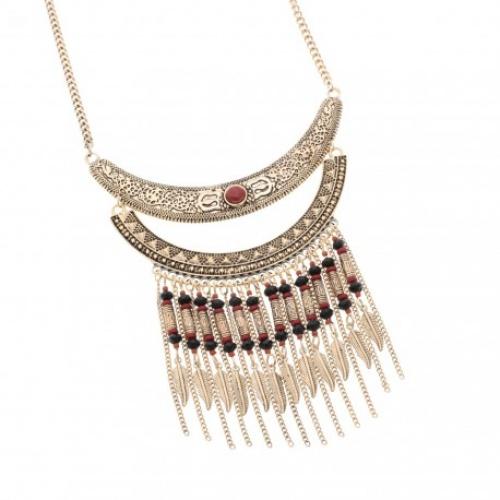 Collier double demi lune gravee details perles et chaines