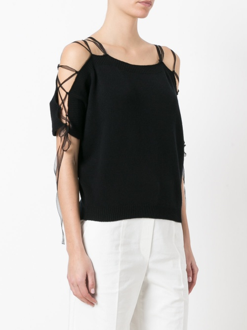 Lace-up knitted top