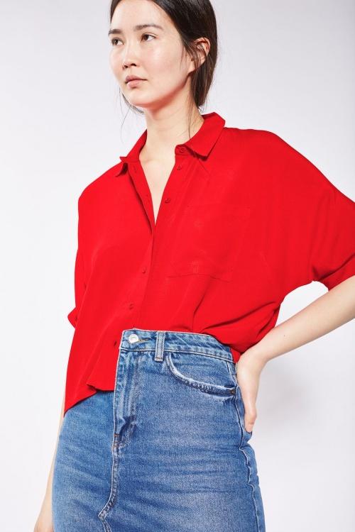 Chemise à manches courtes retroussées