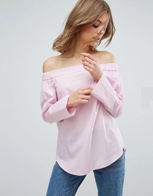 Top en coton à épaules dénudées et à rayures roses