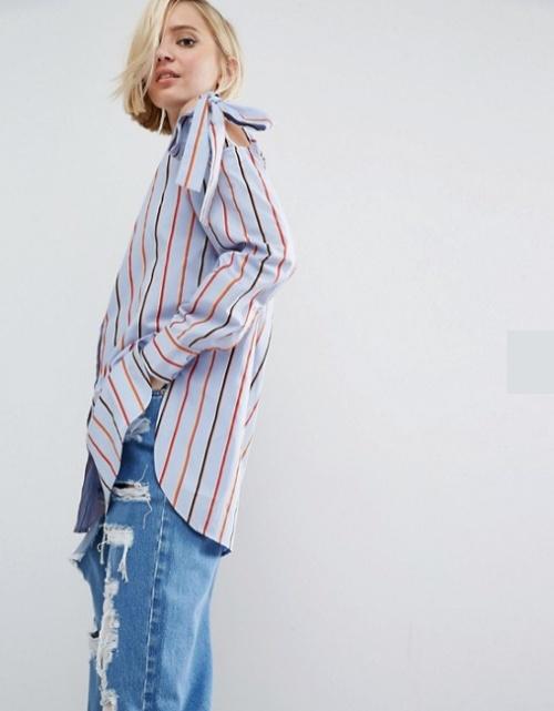 Chemise en coton à épaules nouées - Rayures multicolores