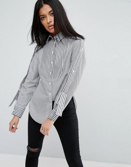Chemise à rayures variées avec pattes d'épaule
