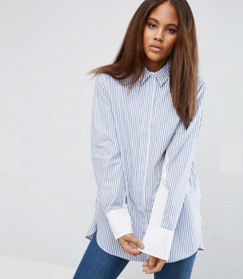 Chemise oversize à rayures et manches chauve-souris contrastantes
