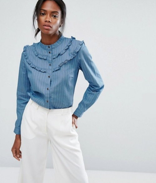 Chemise en chambray à fines rayures