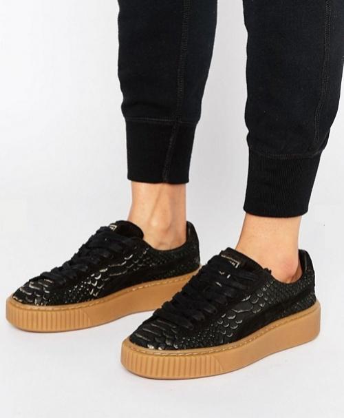 Puma - Baskets plateformes effet crocodile - Noir