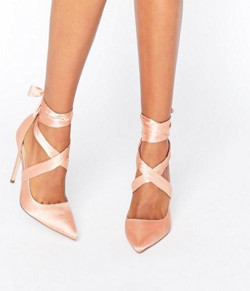 PINO - Chaussures pointues à talons et lacets en satin