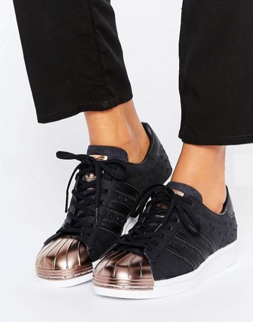 adidas Originals - Superstar - Baskets avec bout renforcé couleur or rose - Noir métallisé