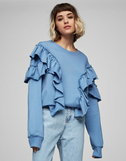 Pull & Bear - sweat bleu volanté
