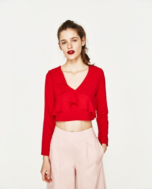 Zara - top court rouge volanté