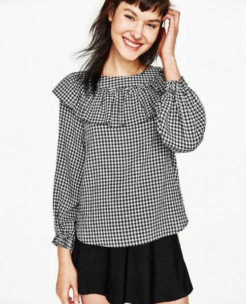 Zara - blouse vichy volantée