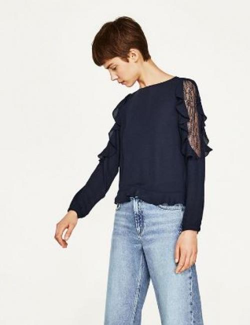 Zara - blouse volants et dentelle