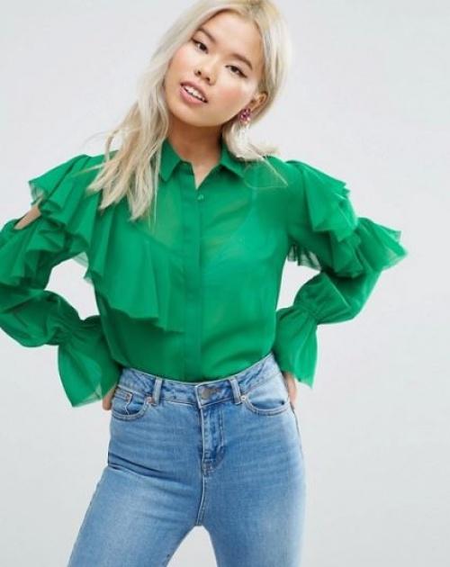 Asos - chemise verte volantée