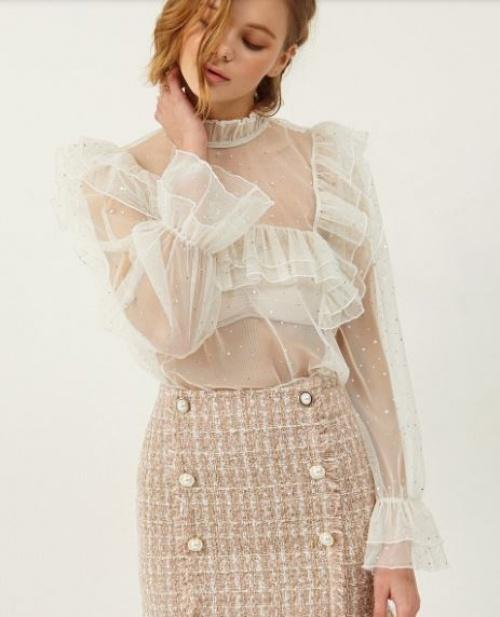 Storets - blouse transparente à volants