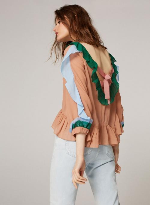 Uterqüe - blouse colorblock volantée