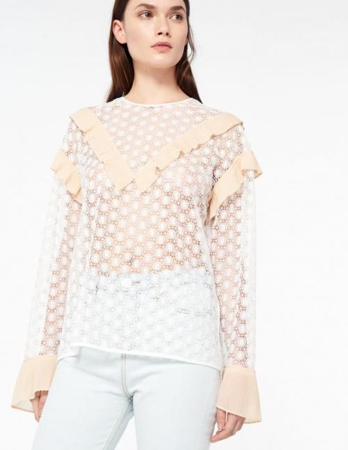 Sandro - blouse dentelle et volants