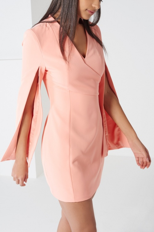 Coral Wrap Detail Split Sleeve Mini Dress