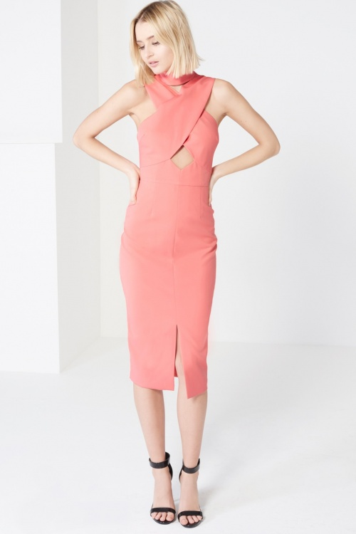 Coral Pink High Neck Cut-Out Detail Centre Split Midi DressShare     Code: LA-127-CRL Coral Pink High Neck Cut-Out Detail Centre Split Midi Dress