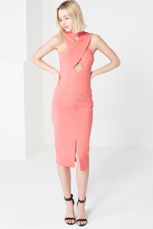 Coral Pink High Neck Cut-Out Detail Centre Split Midi DressShare     Code: LA-127-CRL Coral Pink High Neck Cut-Out Detail Centre Split Midi Dress