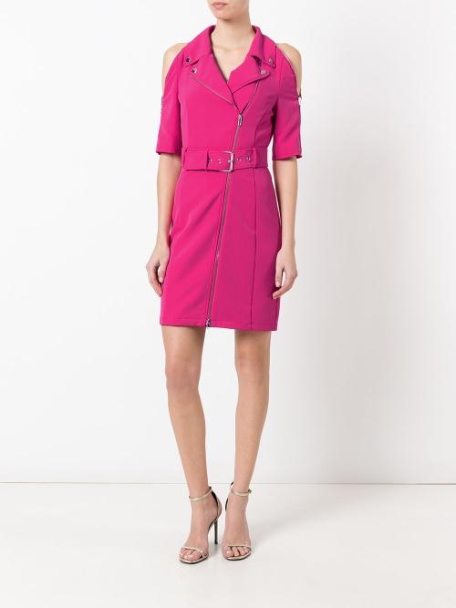 Zipped shoulders belted dress
