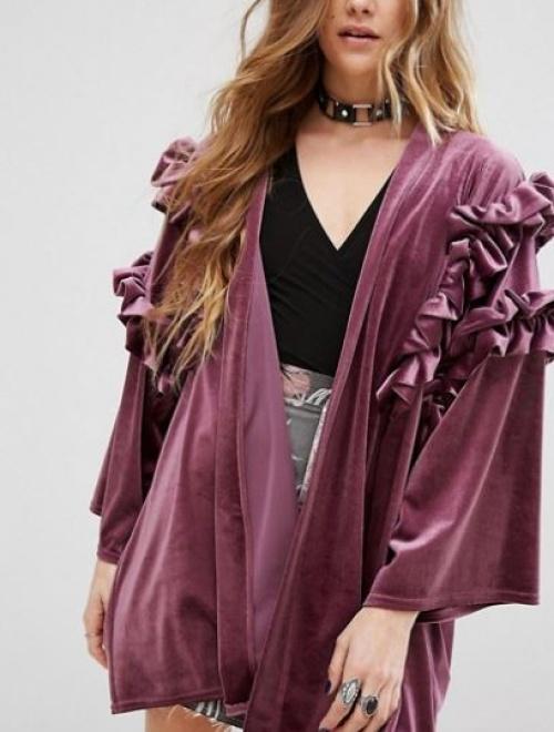 Reclaimed Vintage - Kimono en velours volanté