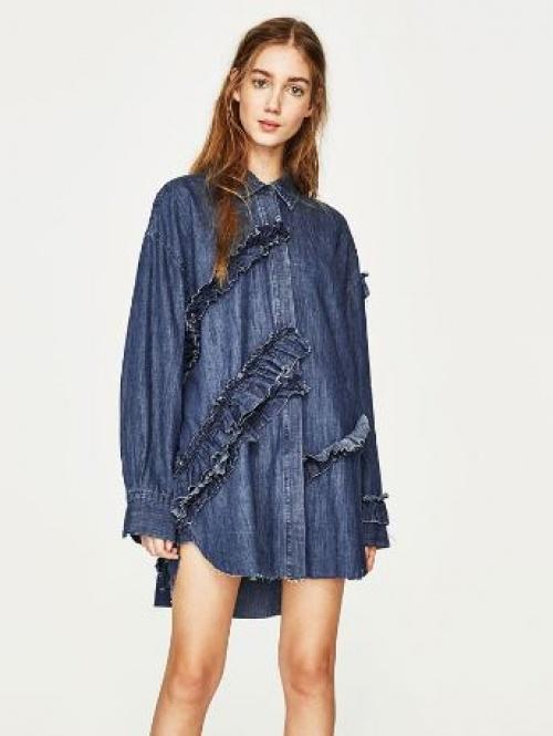 Zara - robe chemise en jean volantée