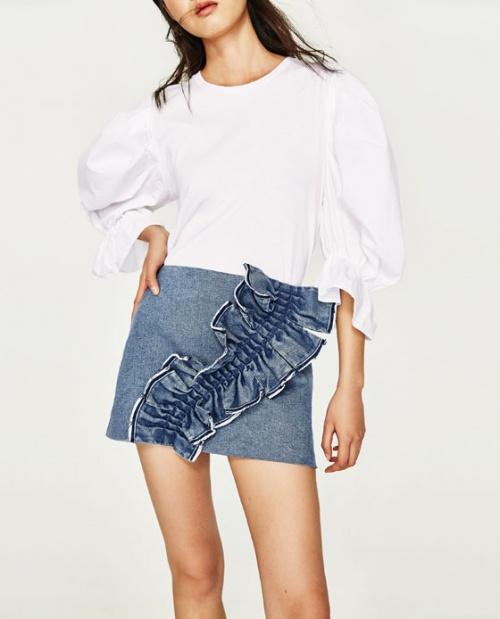 Zara - Jupe en jean volantée