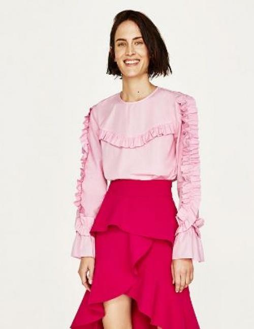 Zara - Blouse rose volantée