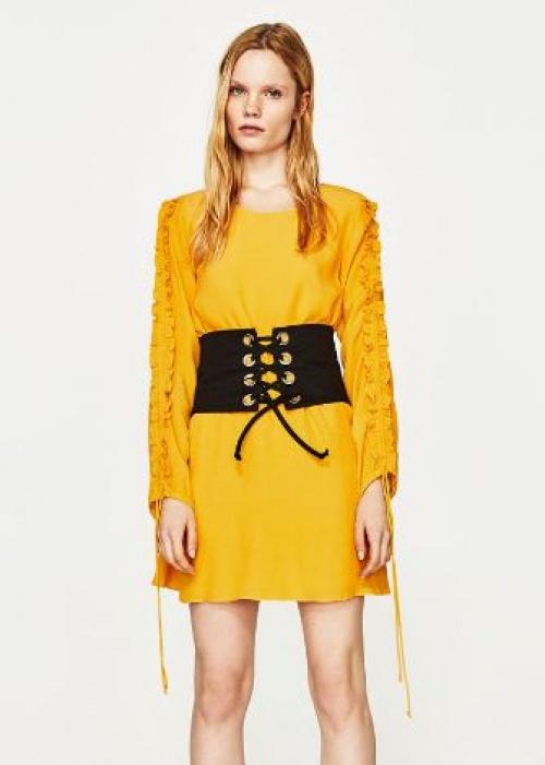 Zara - Robe jaune manches volantées