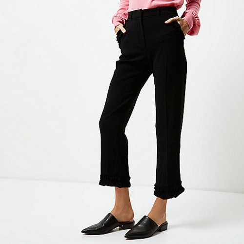 River Island - Pantalon bords volantés