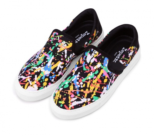 Sneakers Flip-flap Toile Splash et Veau velours Noir et Multico