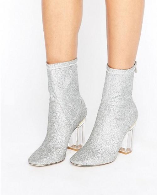 Claudia - Bottines pailletées effet chaussette à talons transparents