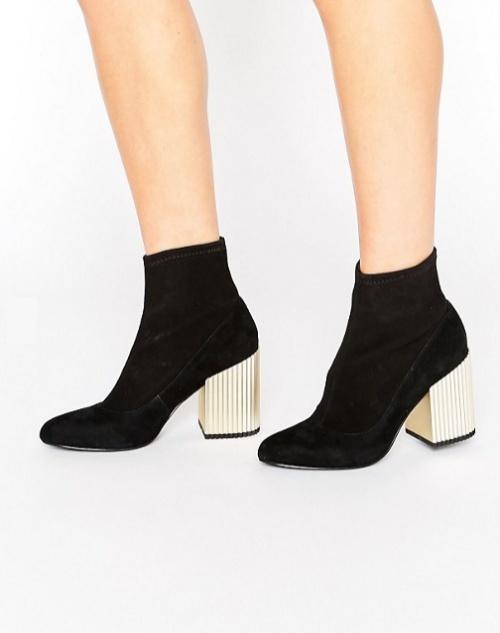 Sarina II - Bottines en daim effet chaussettes à talons dorés - Noir