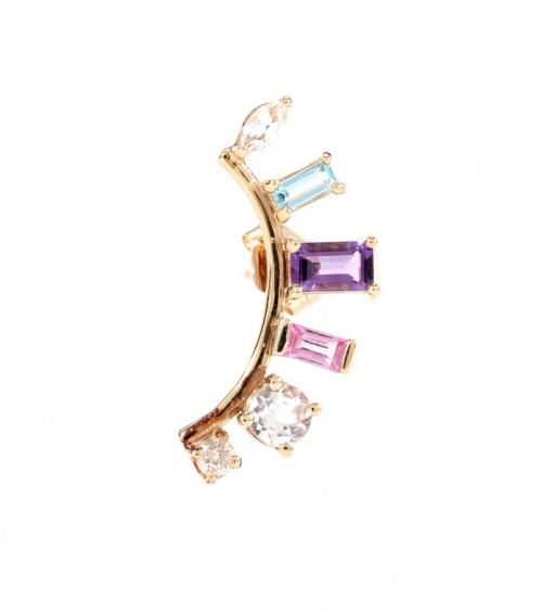 LOREN STEWART Boucle d'oreille unique en or jaune 14 ct avec diamant, améthyste et topazes Arc