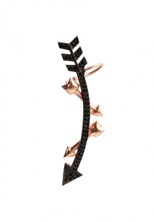 BLACK & ROSE ARROW EAR CUFF