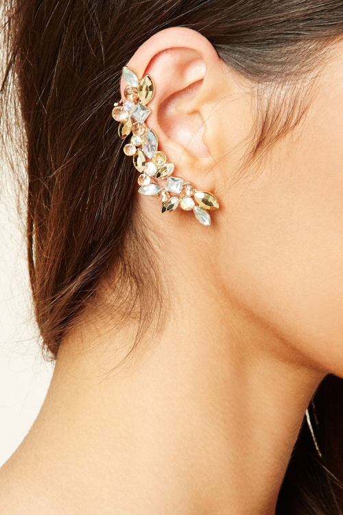 Rhinestone Leaf Ear Cuff Set