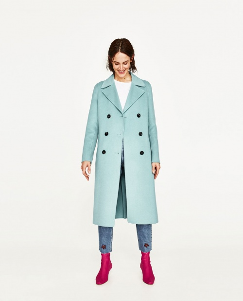 Zara - Manteau long bleu