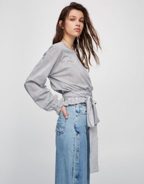 Pull & Bear - Top rayé à noeud